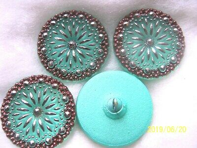 REDUCED  CZECH GLASS BUTTONS (4 pcs) 27mm  HAND PAINTED WITH  PLATINUM   L 049