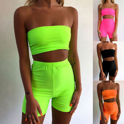 Sexy Strapless Women Bandeau Tops Sports Shorts Club Outfits Neon Two Piece Set