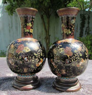 Pair of Antique Japanese 19thC Meiji Cloisonne Vases - Very Detailed on Stands