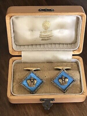Amazing Silver Gold Gilded Blue Enamel Diamonds Russian Pair Of Cufflink In Box