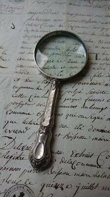 SUPERB ANTIQUE FRENCH SILVER HALLMARKED MAGNIFYING GLASS c1880