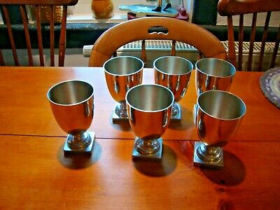 Vintage Monticello Polished Pewter Goblets - Set of 6