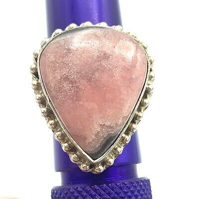 Large Pink Real Stone Silver Ring Rhodonite Pink Gray Polished Teardrop