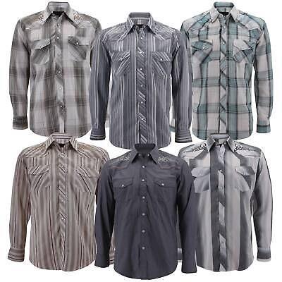 66e7029c Men's Western Embroidered Pearl Snap Long Sleeve Rodeo Casual Cowboy Dress  Shirt
