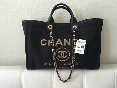 1f17e8245 Chanel Deauville Canvas 2019 Large Navy Blue/Gold with Brand New with Tag