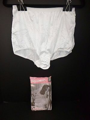NOS 3 Pk Vtg Captiva Nylon Granny Panties Sissy Briefs White Sz 10 Made in USA