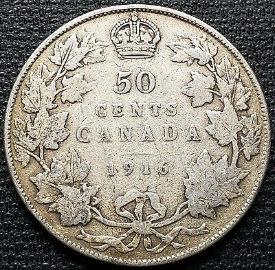 1916 Canada Silver 50 Cent Half Dollar ***F-12 Condition***