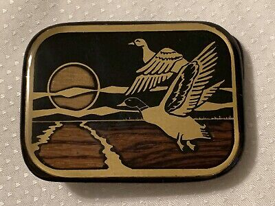 Vintage Harmony Metal Brass Wood Inlay Belt Buckle Flying Ducks