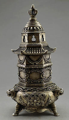 Collectible Decorate Old Handwork Tibet Silver Tower Dragon High Incense Burner