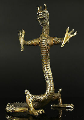 Collectible Old Handwork Carving Bronze Fierce Standing Dragon Statue