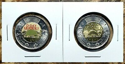 Canada 2019 D-Day Toonies Set (Coloured & Plain) From Mint Rolls!!