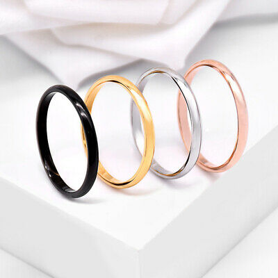 2mm Thin Stackable Ring Punk Stainless Steel Plain Band Men Women Size 3-10