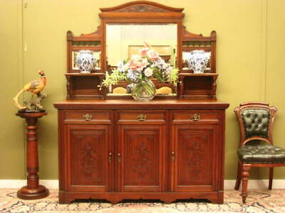 ANTIQUE CARVED WALNUT 3 DRAWER 3 DOOR MIRRORED SIDEBOARD STORAGE CABINET  c1900s