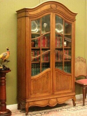 Vintage French Walnut 2 Door Bookcase Cabinet With 12 Bevelled Glass Panels
