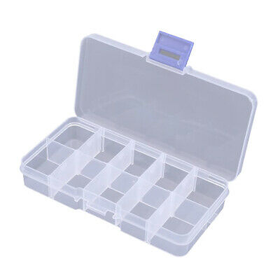 Empty Nail Art display Storage Box For Art Gems 10 Compartments 12.5 cm Long