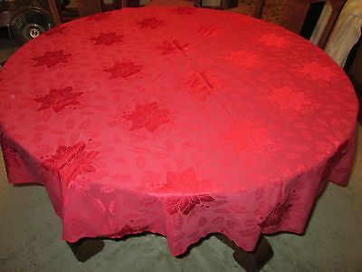 "(M) Poinsettia Christmas Red Damask Tablecloth By Martha Stewart, 70"" Round"