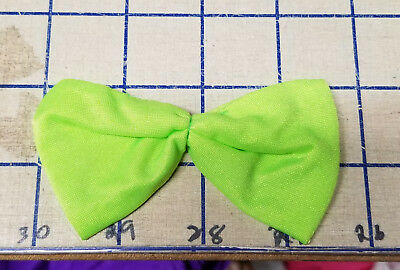 Lime Shiny Bow Ties Spandex Handmade Applique Crafts Sew Patch Glue On VTG Lrg