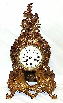 French Antique Louis XV Style Ormolu Bronze Mantel Bracket Clock c1880