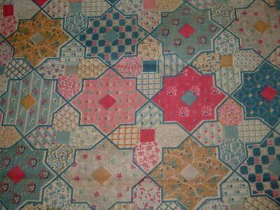 Vtg 30s Deco Pink Blue Calico Stars Tiles Cheater Quilt Sew Fabric 2Yx38 #ff364
