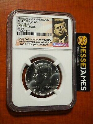 2014 D Uncirculated Silver Kennedy Half Ngc Sp69 Er From 50Th Anniversary Set