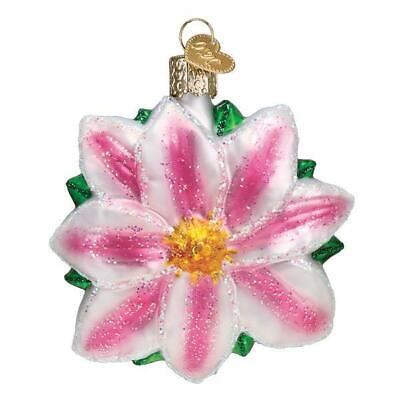 Pink & White Clematis Flower Old World Christmas Glass Garden Ornament Nwt 36262