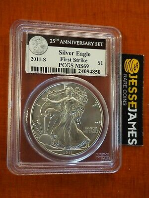 2011 S Silver Eagle Pcgs Ms69 First Strike From 25Th Anniversary Set Black Label