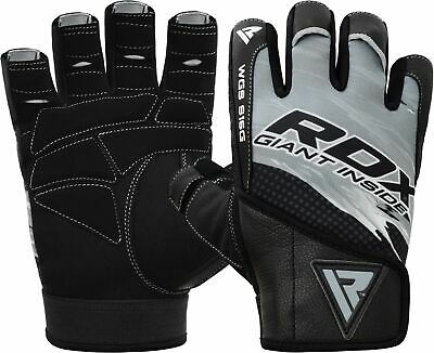 RDX Gym Gloves Leather Fitness Exercise Weight Lifting Wrist Training Support  L