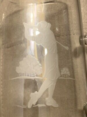 VTG Rare Mid Cent Glass Pitcher Etched With Golf Player & Original Swizzle Stick