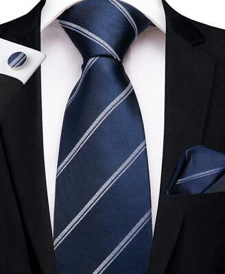 Classic Mens Tie Set Silk Blue Striped Necktie Hanky Cufflinks Business Gift Set