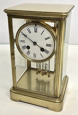 Antique Four Glass Brass Striking Bracket Mantel Clock Brass Japy Freres