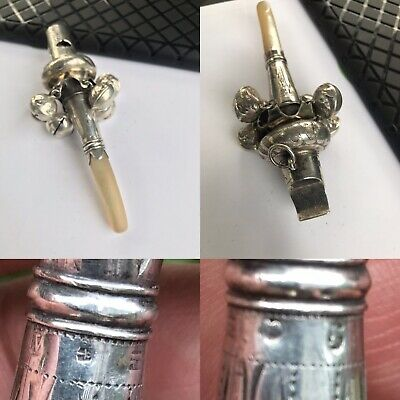 Antique Georgian Solid Silver Mother Of Pearl Baby Rattle Whistle Bells Birm1819
