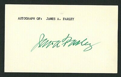 James A. Farley (d. 1976) signed autograph 3x5 card Postmaster General IC382