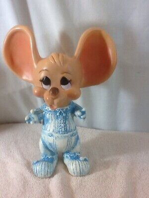 Vtg Collectible TOPO GIGIO CREATIVE MANUFACTURING 1977 Mouse Bank Blue Outfit