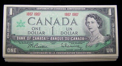 BANK OF CANADA 1967 $1 NOTES  BC-45a  nice AU to UNC 10 PCS LOT