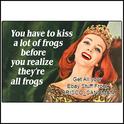 Fridge Fun Refrigerator Magnet YOU HAVE TO KISS A LOT OF FROGS... Funny Retro