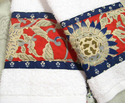 RED /BLUE Ralph Lauren cotton fabric Decorated * Decorated Hand Towels 2/Towels