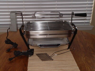 Vintage~Farberware~Rotisserie~Open Hearth Indoor Electric Grill w/Rotisserie~EXC