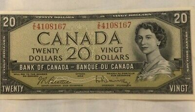 1954 20 dollar Canadian bank note.Extremely fine condition.bright colors/ pretty