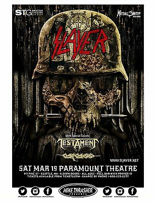 Slayer / Testament 2016 Concert Tour Poster For Portland Or Seattle: You Choose!