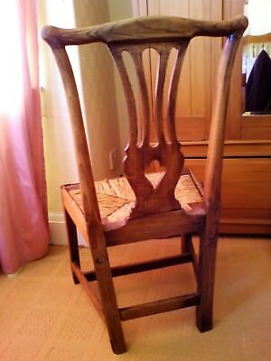 Antique Oak Chair Handmade (very old??) Straw Seat