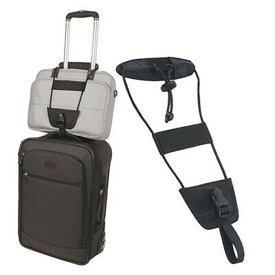 Add A Bag Strap Luggage Suitcase Travel Portable Adjustable Belt Carry-on Black