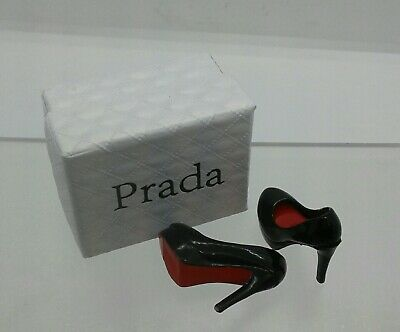 1:12th Miniature Doll House Accessories Little Parda Shoes Black & Box