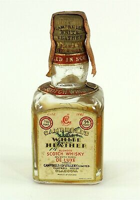 Campbell's White Heather Scotch Whisky Vintage Mini Collectable Bottle Tax Stamp