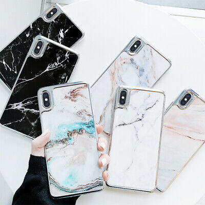 For Apple iPhone XS Max XR 8 7 6s Plus Marble Plating Silicone Slim Case Cover