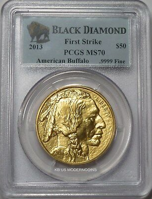 2013 $50 American Gold Buffalo 1 Oz Pcgs Ms70 First Strike Black Diamond