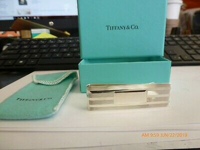 Tiffany & Co Sterling Silver Engine Turned Strip Money Clip New old Stock