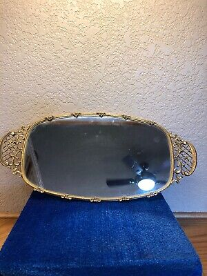 Mirror For Display Or Dresser With Gold Trim