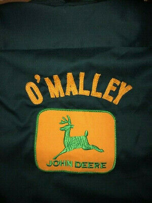 LEE Vtg 50s 60s JOHN DEERE O'Malley CHAIN STITCH Work Uniform Mechanic Shirt M/L