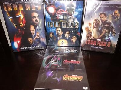 6 Marvel DVD Collection - Avengers, Ultron, Infinity War + Iron Man Trilogy 1-3