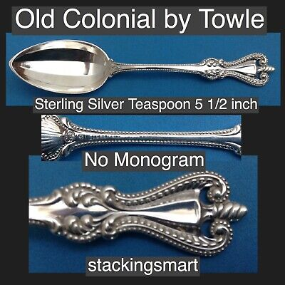 Old Colonial by Towle 925 Sterling Silver Teaspoon 5 1/2 Inch No Monogram Scarce
